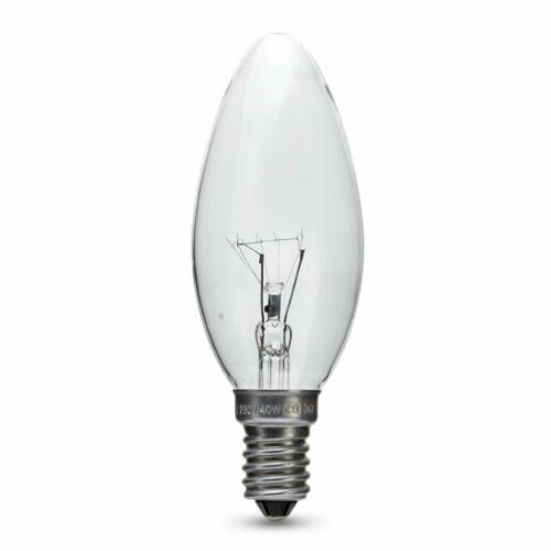6 x 40w Watt SES E14 Clear Candle Small Edison Screw in Candle Bulb Bulbs