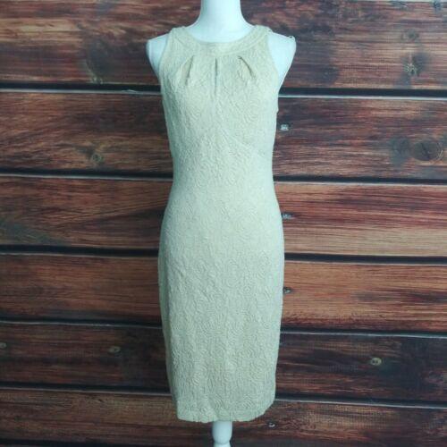 st. john knit Dress 6 cream gold sleeveless sheath