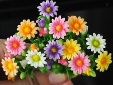 12 Pcs Miniature Colorful Daisy Flowers Decorative Clay Handmade Collectible New
