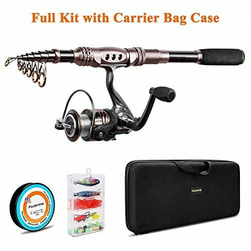 Spinning Rod and Reel Combos Telescopic Fishing Pole with Line Lures Hooks Bag