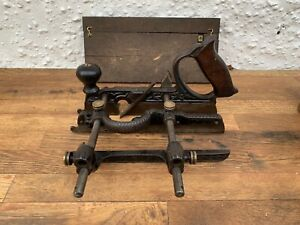 Vintage-Old-Antique-Stanley-No-45-Type-1-1890-Plane-Cutters-amp-Box