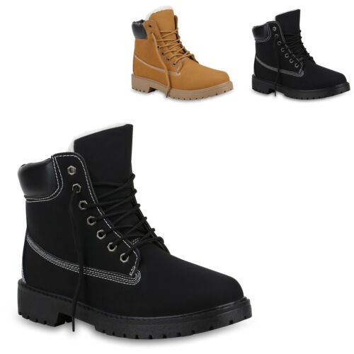 Herren Worker Boots Warm Gefütterte Outdoor Schuhe Profilsohle 819853 Trendy Neu