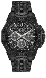 Bulova-98C134-Men-039-s-Crystal-Quartz-Black-Pave-Dial-Bracelet-Watch