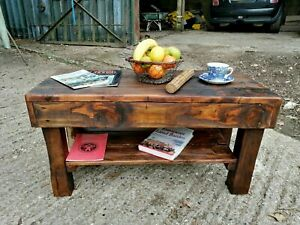 Reclaimed Timber Primitive Dark Oak Coffee Table Farmhouse Country Cottage Ebay