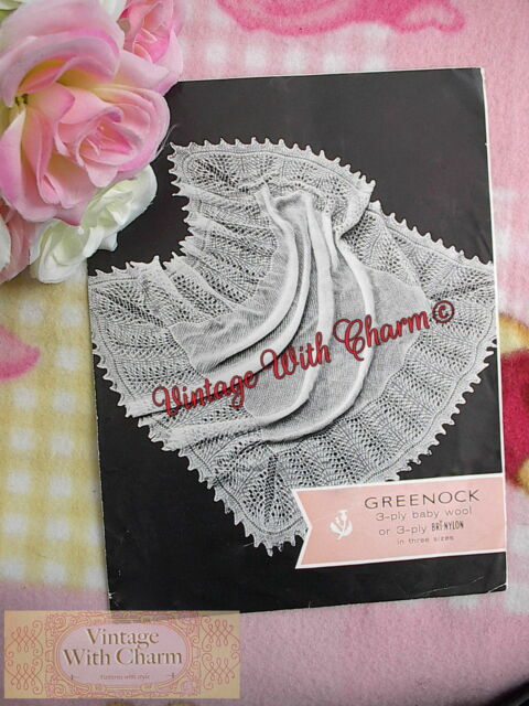 Vintage 1950s Knitting Pattern Baby's Lace Look Shawl In 3 Sizes