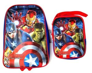 Marvel-Avengers-Age-Of-Ultron-Boy-039-s-Backpack-amp-Carry-On-Lunch-Bag-2-Piece-Set