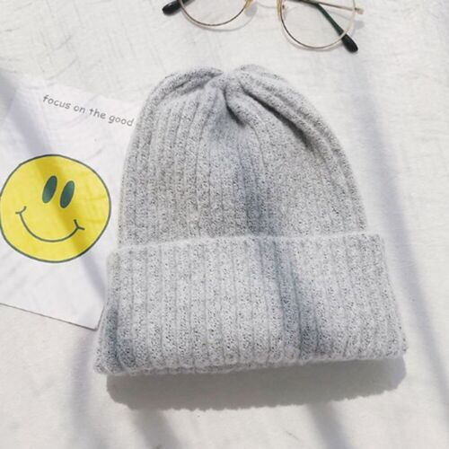 Unisex Ribbed Beanie Knit Ski Cap Skull Hat Warm Solid Color Winter Cuff Slouchy