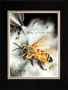 Matted-8x10-Honeybee-Art-Print-034-Smoker-Bees-034-Beekeeper-Smoking-Bees-by-Roby-Baer