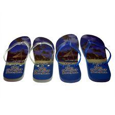 Blue Sea & Beach Hut Personalised Honeymoon Two Pairs Flip Flops X52 HHSET2