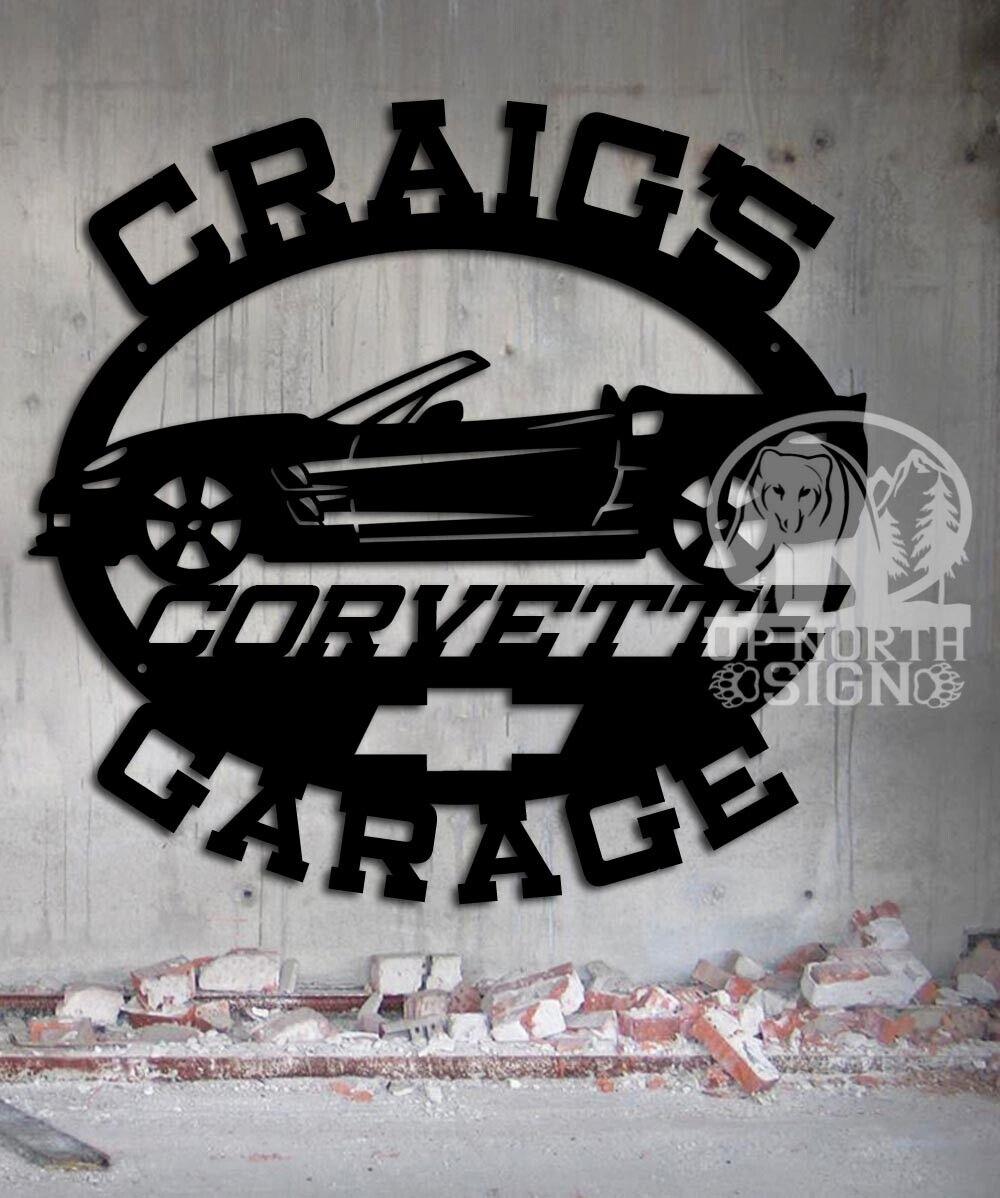 Corvette Garage  CONGrünIBLE  - Personalized Metal Sign - Steel Wall Art Gift