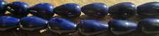 75 Vintage Czech Glass Opaque Navy Blue Shiny Drop Beads 14mm x 8mm