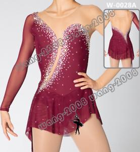 Adult Marvellous Ice Skating Figure skating Dress Gymnastics  Costume wine Red