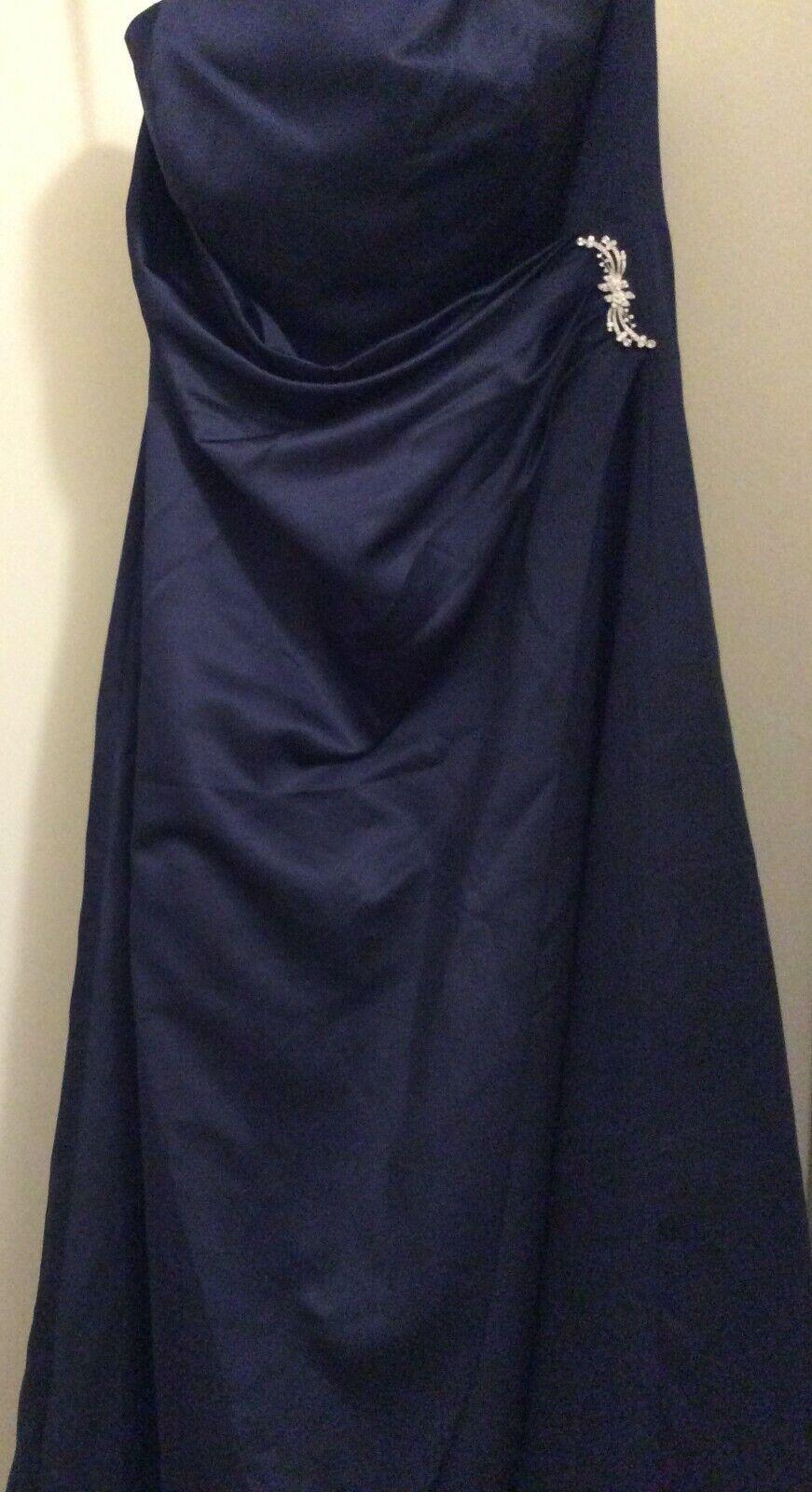 David's Bridal Dark Blue Strapless Formal Evening Gown Dress, Size 14