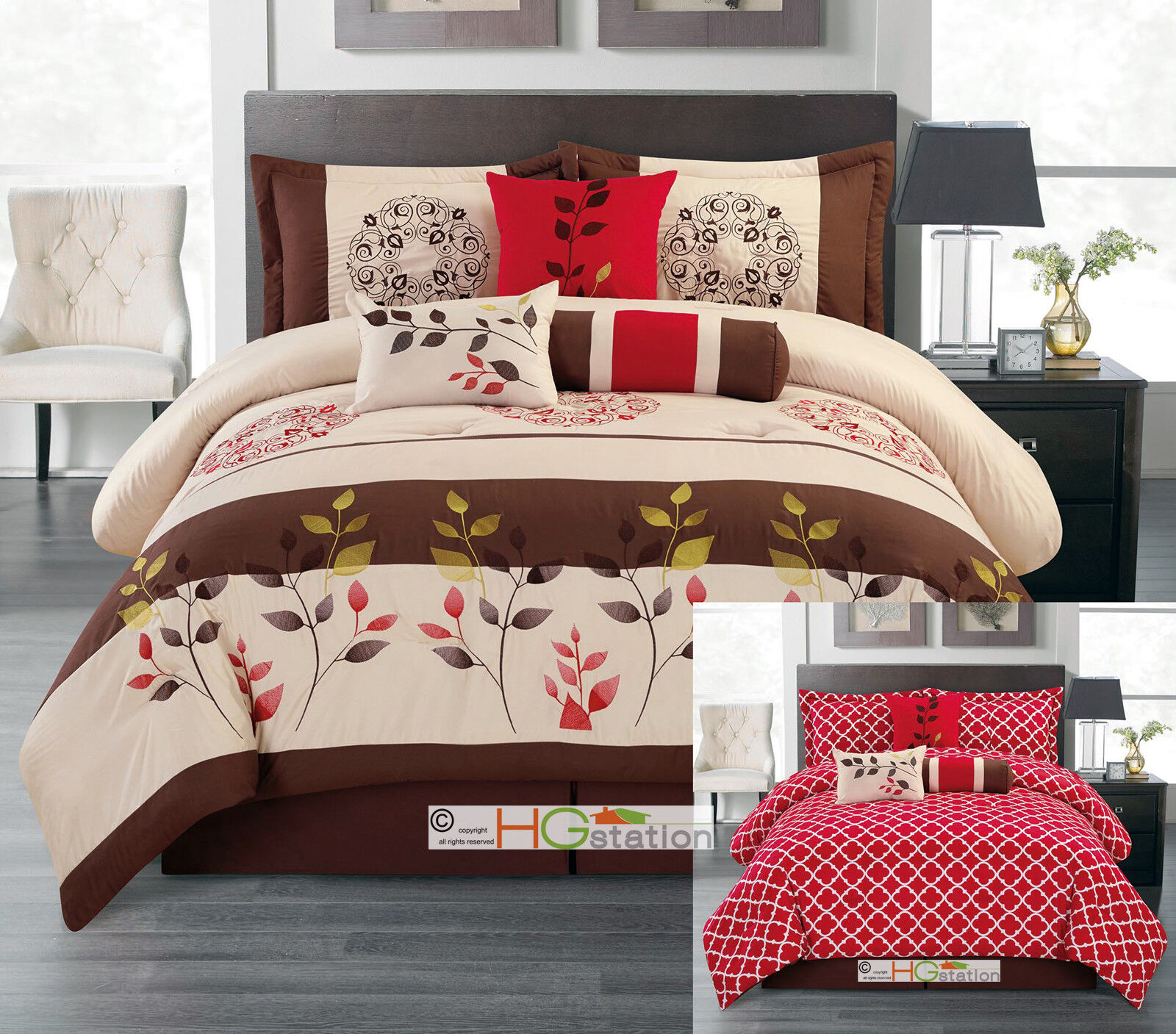 7-Pc Embroidery Floral Medallion Trellis Reversible Comforter Set braun rot King
