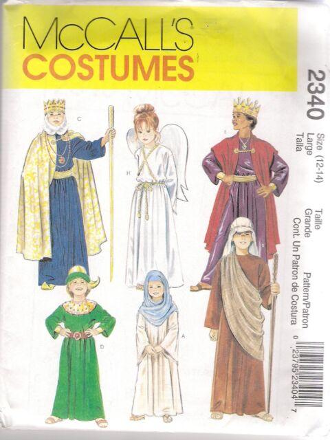 McCalls Sewing Pattern 2340, Nativity Christmas Story Costumes, Child 12- 14 New