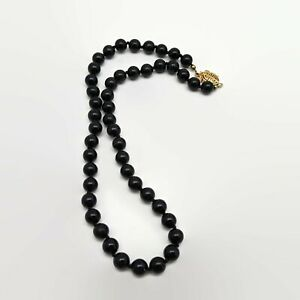 Black-Onyx-Hand-Knotted-Necklace-With-Ornate-Slide-Clasp-amp-Safety-Catch