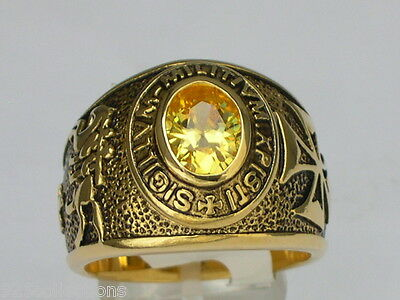 9x7 mm Knights Templar Masonic Mason November Yellow CZ Stone Men Ring Size 9