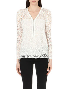 0cc2a92746c NWT $215 The Kooples Zip Up Lace floral-embroidered top Shirt Blouse ...