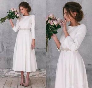 2d2d0fa8ea Details about Simple Long Sleeve soft Satin Wedding Dresses Vintage Tea  Length Bridal Gown