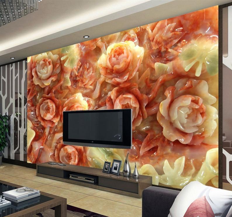 3D Gemstone Flowers 7 Wall Paper Murals Wall Print Wall Wallpaper Mural AU Lemon