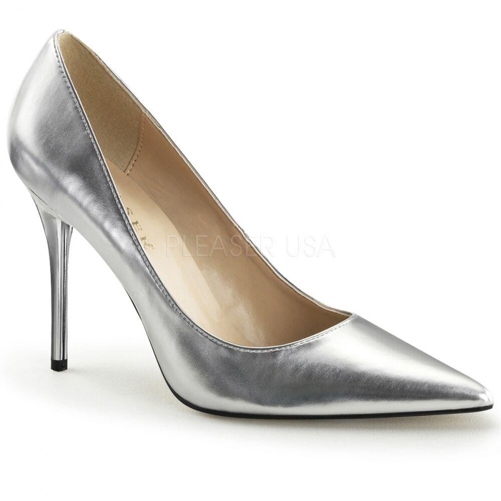 Pumps silver metallic Gr. 40 US 9 High Heels Absatzschuhe bequem Gala Ball