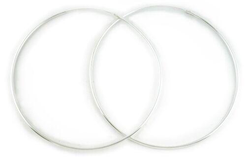 3.9in Genuine .925 Sterling Silver Continuous Hoop Earrings 1.5mm 100mm