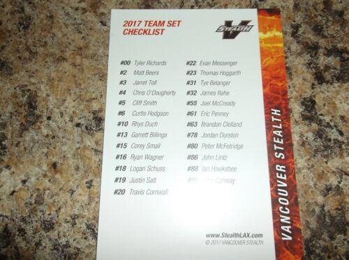 2017 Vancouver Stealth NLL sellado de fábrica juego de equipo Liga Nacional Lacrosse LAX