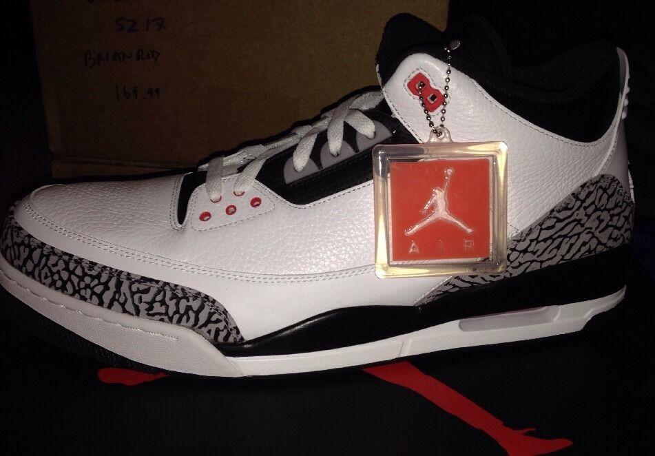 Nike Air Jordan Retro 3 III INFRARED INFRARED INFRARED White Black 23 JTH Tinker Cement 88 Sz 16 d5927b