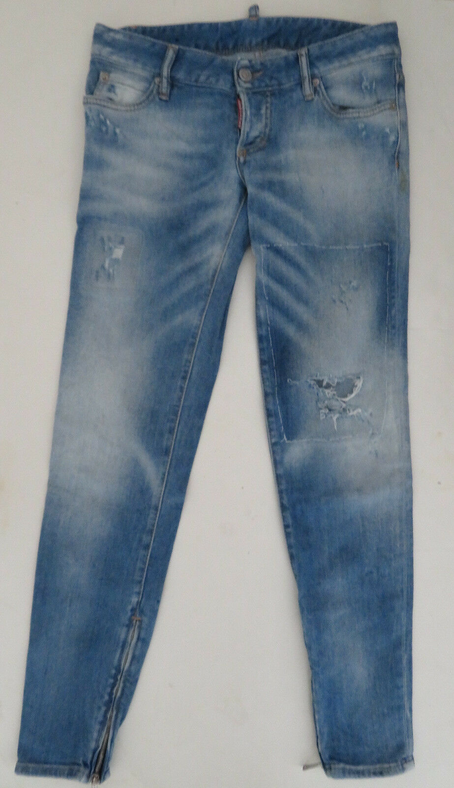 DSQUARED distressed denim jeans sz 40 button fly Ankle zip