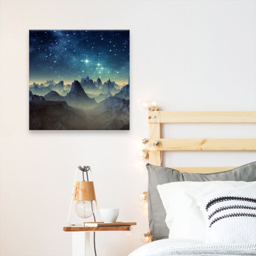 Square Scenic Canvas Wall Art Photo Picture Print Blue Yellow Stars Mountain
