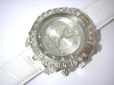 Iced Out Bling Bling Techno King Big Case Leather Band Men's Watch White #3195