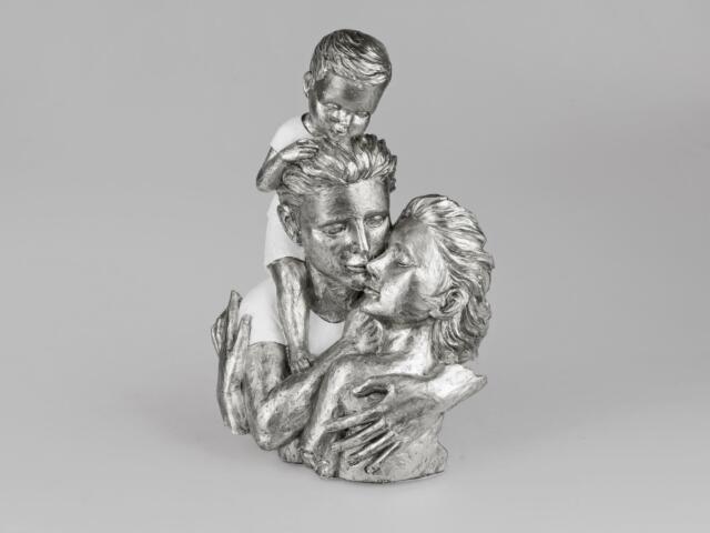 Dekoobjekt Büste Familie, Paar mit Kind weiß silber Formano