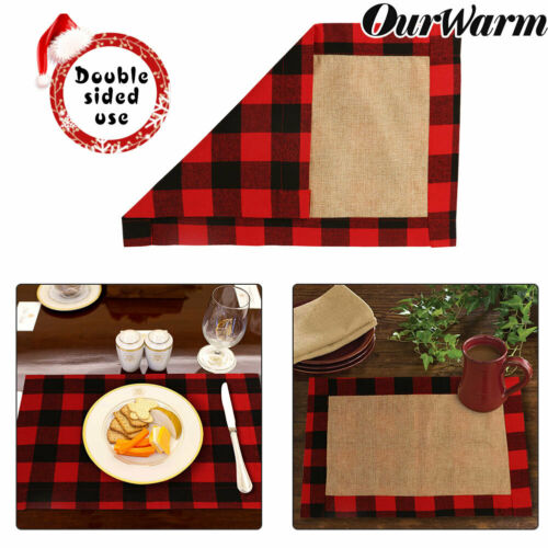 2pcs Red /& Black Buffalo Plaid Placemats Dining Table Mat Christmas Home Decor