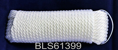 """White Braided Poly 1//4/"""" x 50/' HQ Marine UTILITY ROPE Boat Dock Anchor Line Cord"""
