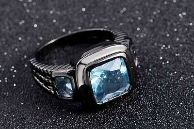 Size 8,9,10,12 Engagement Rings For Mens Aquamarine Black Gold Filled Wedding