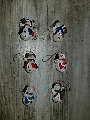 Adorable Miniature Christmas Resin Frosty The Snowman Set Of 6 Vintage Ornaments Ebay