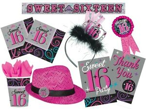 Image is loading SWEET-16-Girl-16th-Birthday-Party-Range-Tableware- : sweet 16 tableware - Pezcame.Com