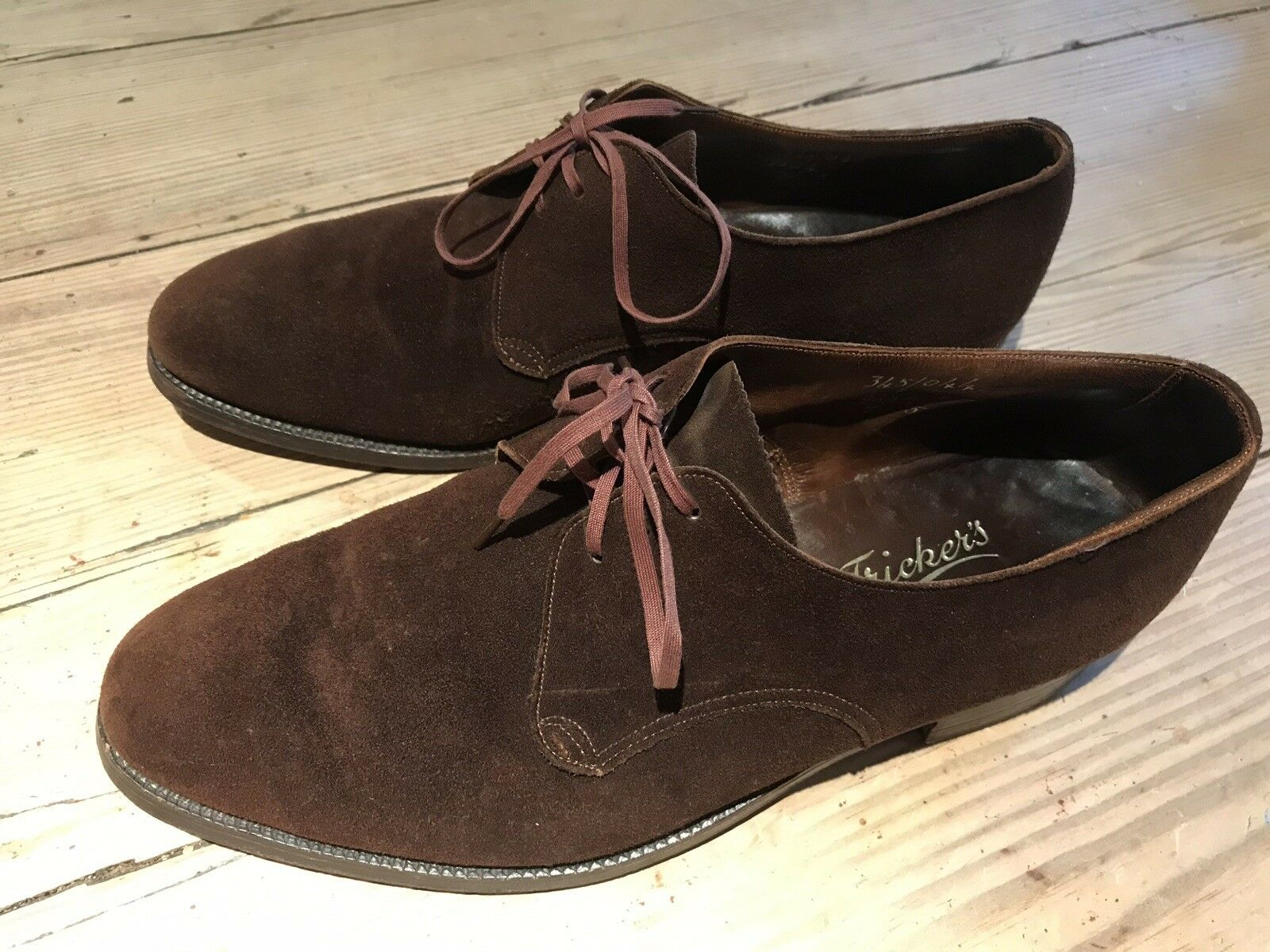 Vintage Tricker's Bench Made Lace Up Brown Suede shoes UK 7, EU 41 Good
