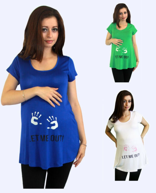 """Baby """"Let Me Out"""" Tee Hands Maternity Top Casual Green Blue White S M L XL"""