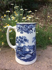 Royal-Staffordshire-Ceramic-Pitcher-Jug-034-Tonquin-034-Clarice-Cliff-Blue-England