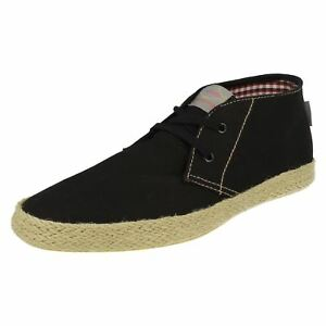 Bescheiden Base London Lilo Fish N Chips Mens Black Canvas Shoes (r17b)