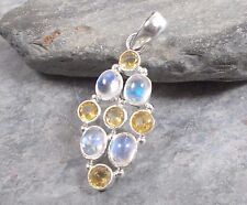 925 silver RAINBOW MOONSTONE CITRINE Pendant P298~Silverwave*uk Jewellery