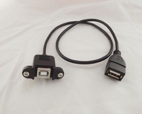USB 2.0 B Female Socket Panel Mount To USB A Female Jack Extension Cable 20inch