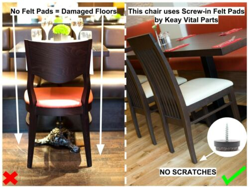 Made in Germany 24mm Felt Furniture Gliders Screw in Sofa Chair Feet BLACK