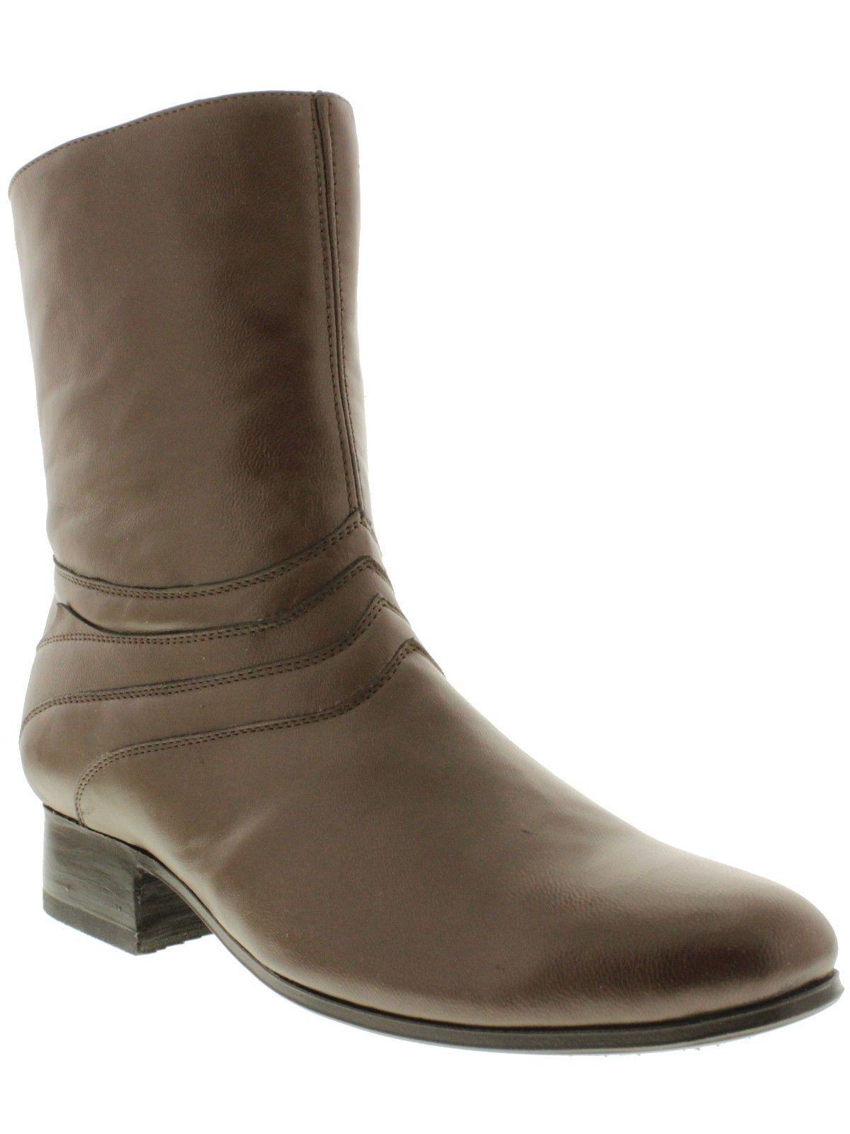 Uomo Brown Plain Pelle Dress Zipper Ankle Stivali Overlay Design Round Toe