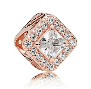 S925-Sterling-Silver-Geometric-Radiance-Charm-Rose-Gold-amp-Clear-CZ-Bead