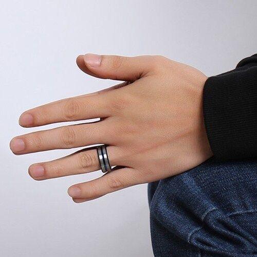 Aço De Tungstênio Azul Pulseira Prata Fosco Masculino Anel De Noivado Festa de Casamento Tamanho 8-12