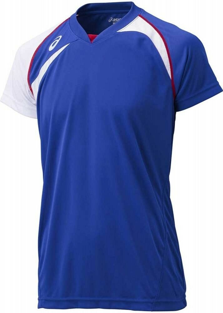 ASICS JAPAN Volleyball Game Training T-shirt Jersey XW1318 bluee White