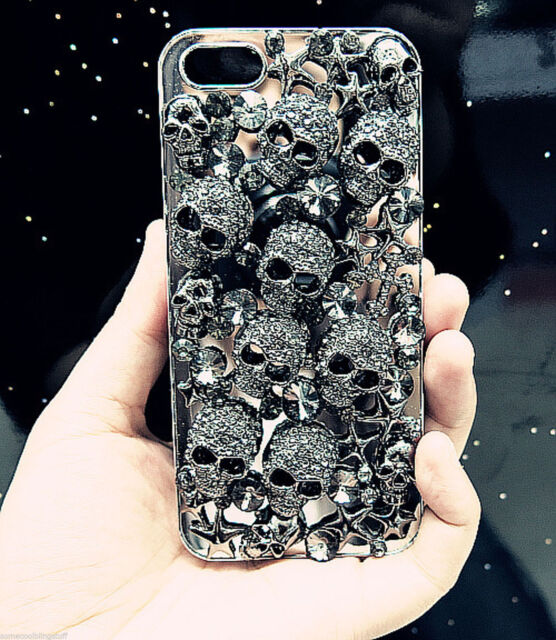 NEW DELUX COOL LUXURY BLING BLACK SKULL DIAMANTE CASE FOR SAMSUNG GALAXY S6
