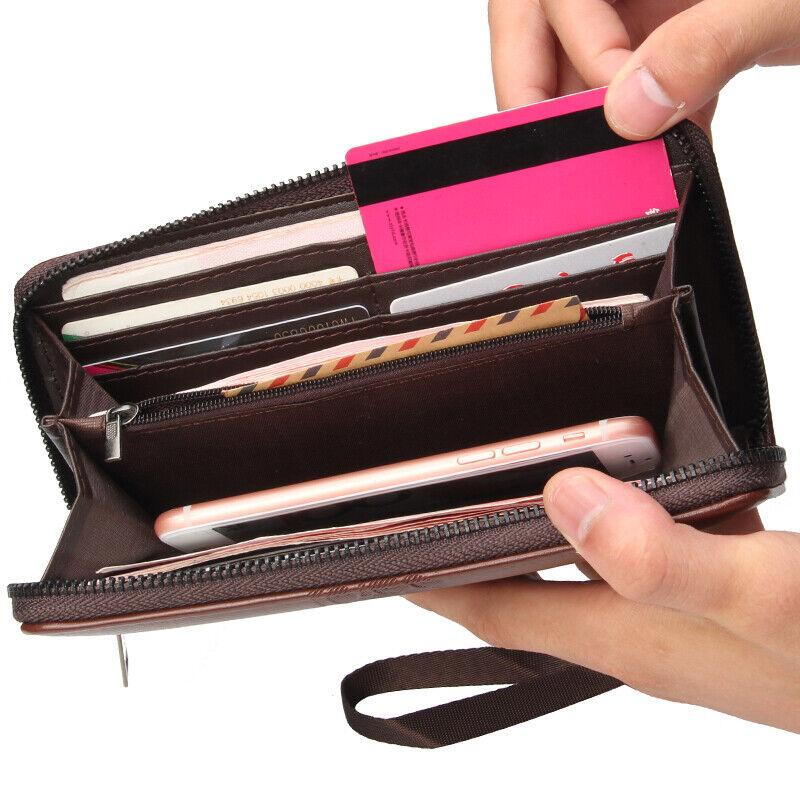 Mens Credit Card Wallet Long Wallet Leather Billfold Zip Around Checkbook Wallet